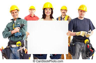 aannemer, vrouw, en, groep, van, industriebedrijven, workers.