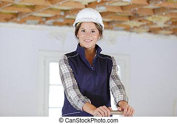 aannemer, vrouw, ladder