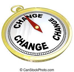 aanpassen, kompas, begin, wijzende, veranderen, nieuw
