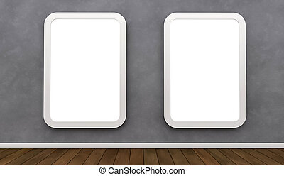 aanplakborden, op, een, muur