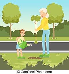 aanplant, mamma, natuur, eco, boompje, zoon, achtergrond