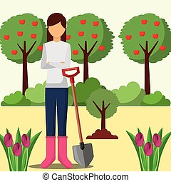 aanplant, schop, tuinieren, boompje, vrouw, tuinman