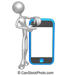aanraakscherm, cellphone, presentator