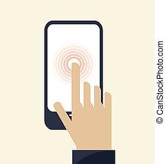 aanraakscherm, smartphone, pictogram