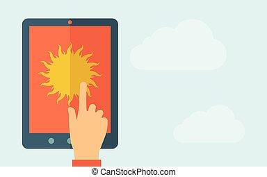 aanraakscherm, weer, tablet, pictogram