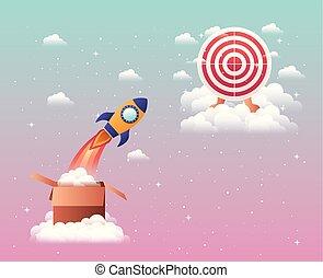 aanslaan, raket, doel
