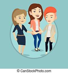 aansluiting, groep, hands., handel vrouwen