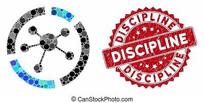 aansluitingen, grunge, postzegel, diagram, discipline, mozaïek