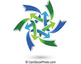 aansluitingen, logo, pijl, zakelijk