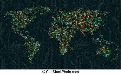 aansluitingen, wereld, digitale , breed, web