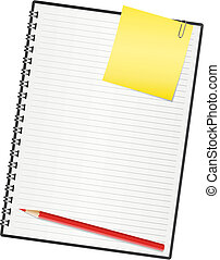 aantekenboekje, paper., vector, illustratie