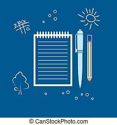 aantekenboekje, pen, potlood
