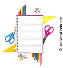 aantekenboekje, stationair, voorwerpen