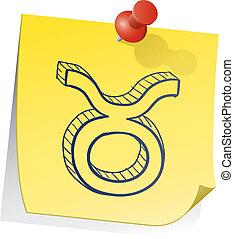 aantekening, astrologie, taurus, kleverig