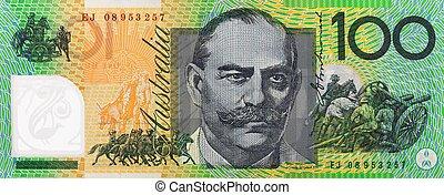 aantekening, australiër, honderd dollars, een