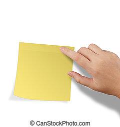 aantekening, beroeren, kleverig, gele, leeg, hand