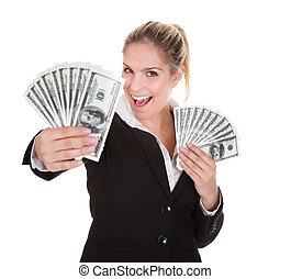 aantekening, businesswoman, dollar, vasthouden, ons