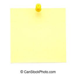 aantekening, duw, gele, spelden, kleverig