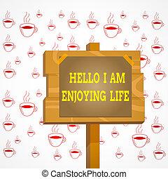 aantekening, eenvoudig, hallo, spullen, het genieten van, het tonen, pool, genieten, vrolijke , life., levensstijl, gehecht, stok, schrijvende , papier, showcasing, hout, kleefstof, plank, tape., ontspannen, zakelijk, foto