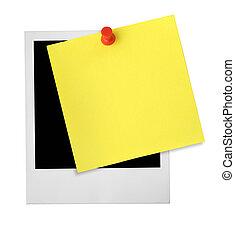 aantekening, fotokader, gele