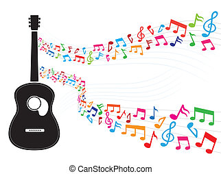 aantekening, gitaar, zwevend, kleurrijke