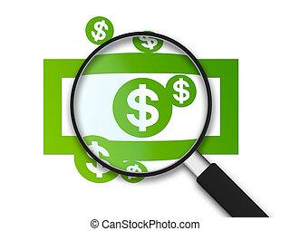 aantekening, glas, -, vergroten, dollar
