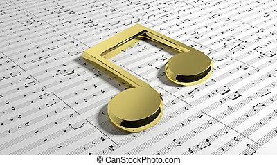 aantekening, gouden, muziek