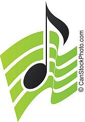 aantekening, groene, muzikalisch