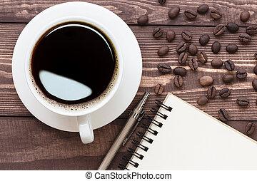 aantekening, koffie, aanzicht, bovenzijde, leeg