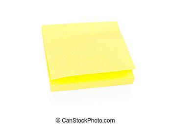 aantekening, leeg, blok, gele, kleverig