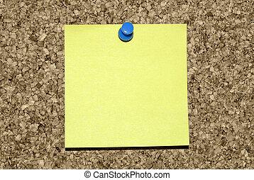 aantekening, leeg, corkboard, gele, kleverig