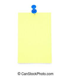 aantekening, leeg, gele, post-it