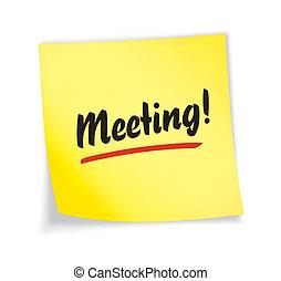 """aantekening, \""""meeting\"""", gele, kleverig"""