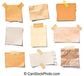 aantekening, ouderwetse , papier, kantoor, zakelijk