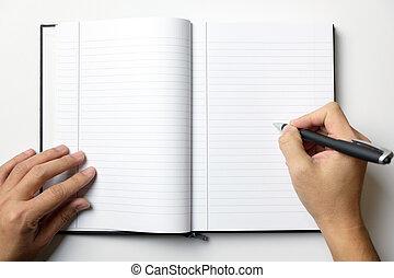 aantekening, pen, boek, handen, houden, lege, man