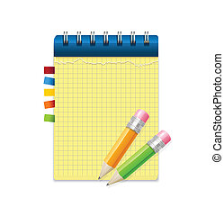 aantekening, potloden, papier, gele
