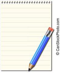 aantekening, potlood, blok