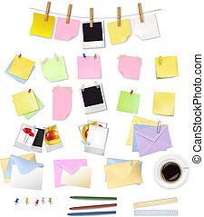 aantekening, supplies., kantoor, papieren