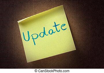 aantekening, tekst, update, gele, kleverig