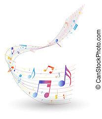 aantekening, veelkleurig, muzikaal personeel
