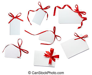 aantekening, verzameling, lint, kaart, rood