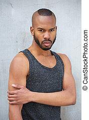 aantrekkelijk, afrikaanse amerikaanse mens, buitenshuis