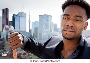 aantrekkelijk, afro-amerikaan, zakenmens , het poseren, in, studio