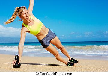 aantrekkelijk, atletisch, vrouw, doen, ketel, klok, workout