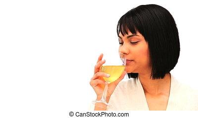 aantrekkelijk, aziatische vrouw, drinkt, een, glas witte...