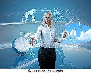 aantrekkelijk, blonde, met, interface, in, futuristisch, interieur