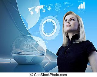 aantrekkelijk, blonde, met, interface, in, toekomst, interieur