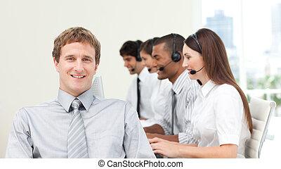 aantrekkelijk, directeur, met, zijn, team