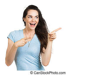 aantrekkelijk, gelukkige vrouw, pointing.
