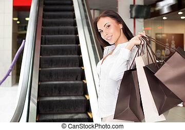aantrekkelijk, jonge, gestyleerd, meisje, is, het gaande winkelen